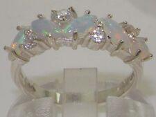 9K White Gold Womens Opal & 0.24ct 1/4ct Diamond Ring