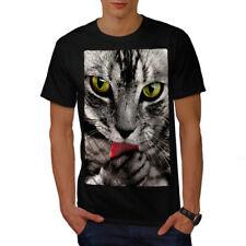 Wellcoda Cat Lick Paw Animal Mens T-shirt, Cute Graphic Design Printed Tee