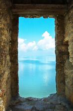 Sticker trompe l'oeil pierre vue sur mer réf 765