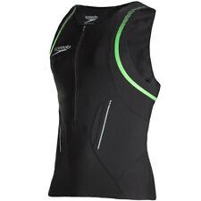 Speedo Mens Triathlon Singlet Swim Compression Vest Tank Top Run Cycle Black NEW