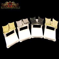 MEN'S GOLD FINISH DIAMOND SIMULATE XXL KITE SQUARE STUD EARRINGS 15MM PUSH BACK