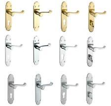 Interno porta MANIGLIA Set Con Piastra per serratura, bloccare e PORTE BAGNO