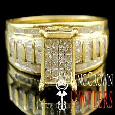 Real Diamond Princess Cut Cinderella Bridal Wedding Engagement Ring Gold Finish