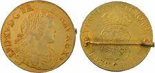 Louis XV, écu de France-Navarre, 1718 Caen, argent doré, RARE - 80