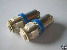 2pz LAMPADINE POSIZIONE 5 LED SMD5050 BLU BLUE BA9S QB