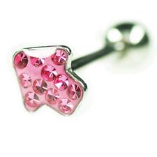 EPOXY Crystal Pfeil Zungen Piercing Stecker viele Kristallen beschichtet 14mm