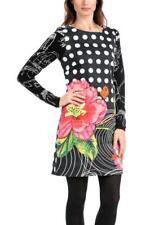 Desigual Vestido Selen Dress 38-46 10-18 RRP�94 Black White Spot & Floral Shift
