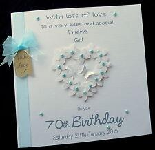 "Large 8"" Personalised Flowerheart Birthday Card Mum Sister Daughter Nanny Friend"