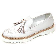 D0332 mocassino donna HOGAN H311 scarpa bianco platino slip on shoe woman