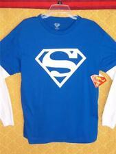 Superman Logo SHIRT Glow in the Dark BLUE Long Sleeves Marvel DC Comics NWT $36