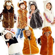 **ANIMAL JACKET FLEECE LINED POCKETS HOODY GILET ZIP WINTER FUR KIDS HATS BODY