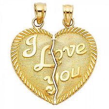14k Yellow Gold Broken Heart 2Pcs Pendants I Love Yove Double Charms Size S M L