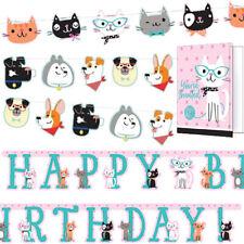 CAT & DOG PARTY ACCESSORY / Invitation Card Birthday Banner Garland Decoration