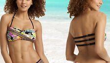 Trina Turk Monaco Floral Print Strappy Back Twist Bandeau Swimsuit Bikini Top