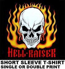 HELL RAISER OLD SCHOOL HOT RAT ROD OUTLAW CAR CLUB BIKER SKULL FLAMES T-SHIRT 48