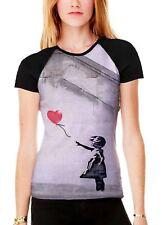 Banksy Balloon Girl Heart Women's All Over Print Contrast Baseball T Shirt