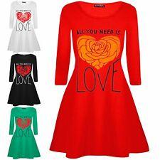 Mini Vestido Mujer señoras todos u necesitan amor corazón día de San Valentín Manga Larga Swing s