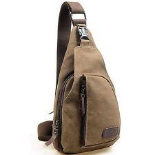 Men's Canvas Shoulder Bag Chest Pack Handbag Casual Travel Messenger Bag