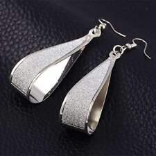 18K White Gold Plated Spiral Long Drop Dangle 69mm Earrings Drop Dangle Water