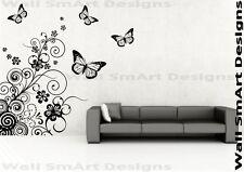 FARFALLA Modello Spirale Adesivo Muro Parete Arte Murale Decalcomania Trasferimento Stencil