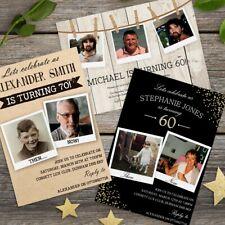 30th 40th 50th 60th 70th 80th Birthday Photo Invitations Personalised, invites