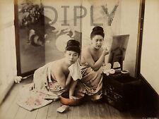 PLAQUE ALU DECO PHOTOGRAPHIE JAPONAISE COLORISEE TOILETTE MAQUILLAGE VERS 1890