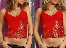 SeXy Miss Girly Shirt Damen Top Oberteil Pailletten 32/34/36 rot gold Print NEU