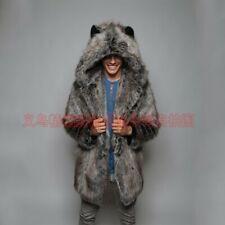 Men's Faux Fox Fur Coat Warm Parka Hooded Jackets Outdoors Windbreaker Outerwear