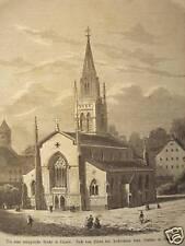 Luzern/Schweiz.Ansicht d.neuen ev.Kirche.Holzstich 1860
