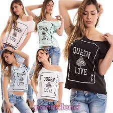 Maglia donna maglietta mezze maniche stampa asso picche strass nuova CC-1312
