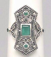 Smeraldo & Anello Diamanti Smeraldi Argento 925 Stile Antico Ø 17.2 Mm