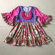 NEW Girls Boutique Ruffle Brown Floral Birds Short Sleeve Dress 4-5 5-6 6-7