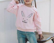 Toddler Girls Cotton Crewneck Rabbit Bunny Print Easter Cute Ruffle Sweatshirts