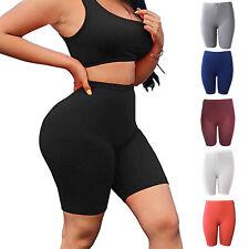 Femme Taille Haute Leggings Extensible Court Remontant Yoga Slim Fit Fitness