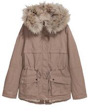 H&M CANVAS Parka Winterjacke Teddyfutter Fell hellbraun beige GR 36 38 40