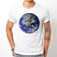 Planète Terre BLANC Homme T Shirt S M L XL XXL Espace Terre Mer continents du monde