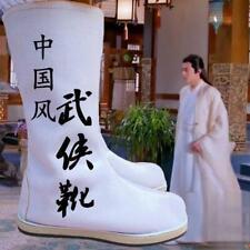 Mens Cosplay Hanfu  Swordsman Boots  Mid-Calf  Flats Shoes Solid color Chinese