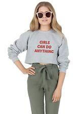 Las niñas pueden hacer cualquier cosa Cultivo Suéter Jumper Top recortada feminista feminismo Grl PWR