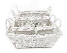 Blanc rectangulaire enfants baby nursery osier stockage panier toy box organisateur