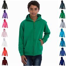Kids Zipped Zip Up Full Zip Hooded Sweatshirt Childrens Plain Hoodie Blank Hoody