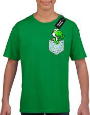 Yoshi Bolsillo Niños Childrens Camiseta Top Gracioso Jugador Juegos Niños Niñas Lindo (Col
