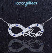"14k White Gold Sapphire Infinity ""Love"" Script Necklace 7 Diamonds 7 Sapphires"