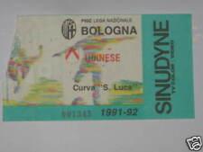 BOLOGNA - UDINESE TICKET BIGLIETTO 1991/92 SERIE A