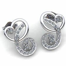 Genuine 0.5ct Round Cut Diamond Ladies Fancy Heart Stud Earrings 18K Gold