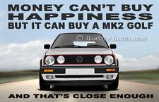 VW Golf Mk2 Big Bumper GTi 16v Art illustration Novelty Fridge Magnet
