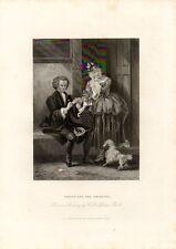 Stampa antica Old Print COPPIA DI GIOVANI YORICK e GRISETTE con cagnolino 1875