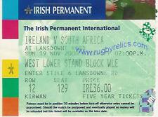 IRELAND v SOUTH AFRICA 19 Nov 2000 RUGBY TICKET