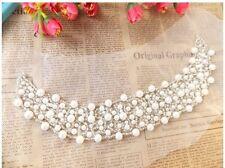 White Pearl Jewel Collar Sequin Beaded Applique
