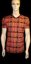 Uomo Rosso Scozzese Toppa stampa t-shirt top GOTICO PUNK EMO TAGLIA S,M,L,XL