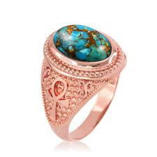 10K Rose Gold Egyptian Ankh Cross Blue Copper Turquoise Ring